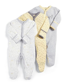 Mamas Papas 3PK ANIMAL SLEEPSUITS