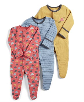 Mamas Papas 3PK CARS SLEEPSUITS