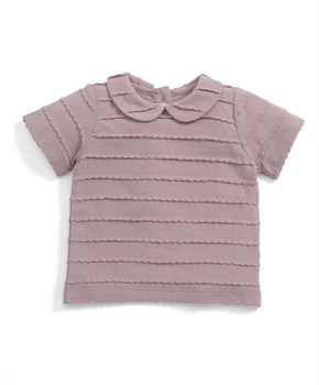 Mamas Papas TRIM COLLAR T-SHIRT PINK
