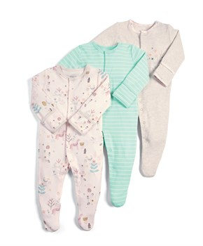 M&P 3 LÜ DEER FLRL SLEEPSUITS